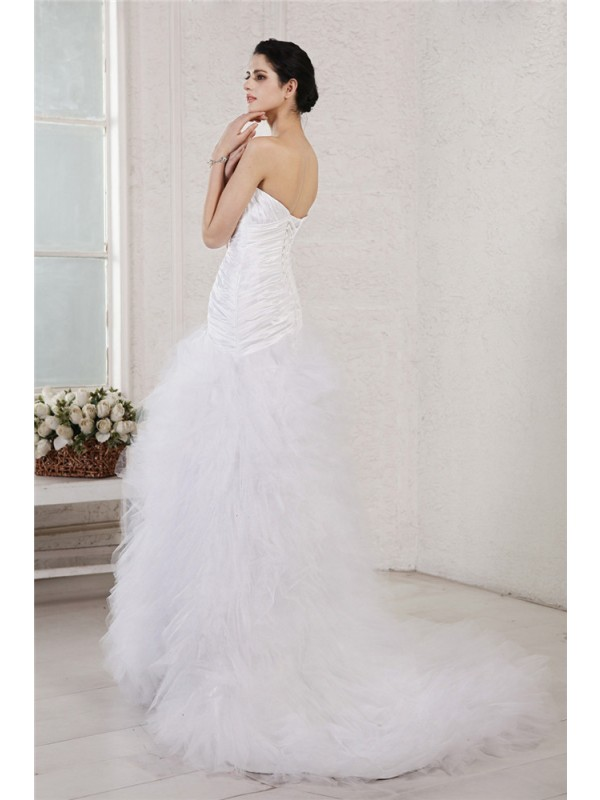Beautiful A-Line Sweetheart Sleeveless Long Taffeta Net Wedding Dress