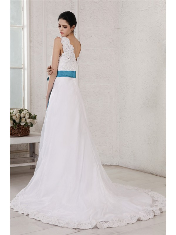 Beautiful A-Line V-neck Sleeveless Sash Long Organza Satin Wedding Dress