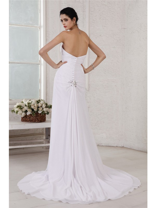 Beautiful Sheath Strapless Sleeveless Long Chiffon Wedding Dress