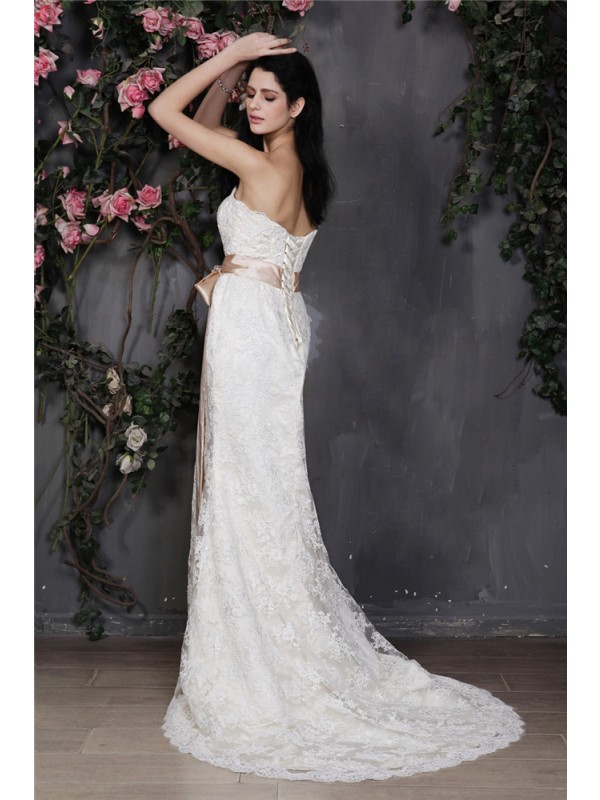 Beautiful Sheath Strapless Sleeveless Sash Long Lace Wedding Dress