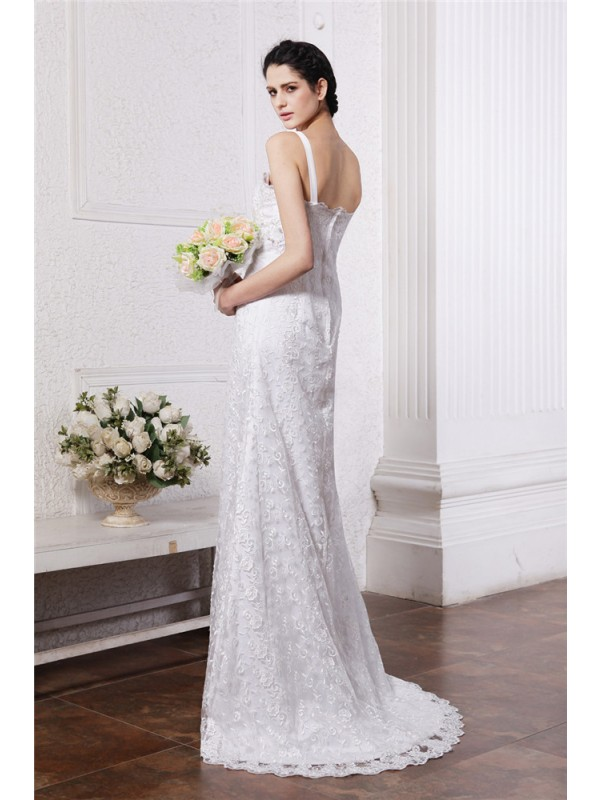 Beautiful Sheath Square Neck Sleeveless Long Chiffon Net Wedding Dress
