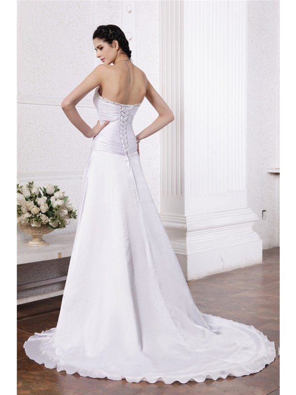 Beautiful A-Line Strapless Sleeveless Long Silk like Satin Wedding Dress