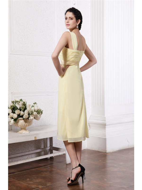 Gorgeous Sheath Straps Sleeveless Sash Short Chiffon Bridesmaid Dress