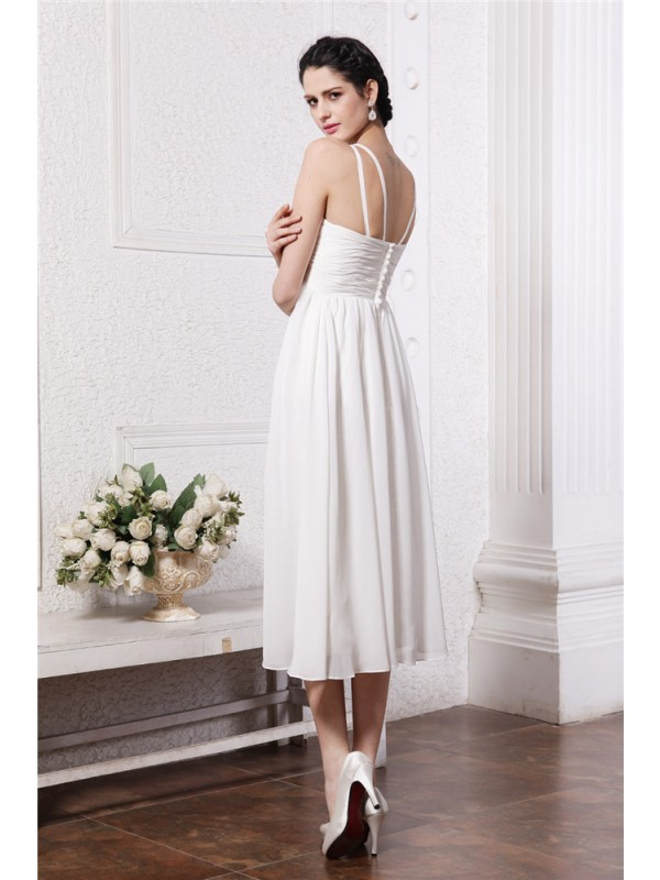 Gorgeous Sheath V-neck Sleeveless Short Chiffon Bridesmaid Dress