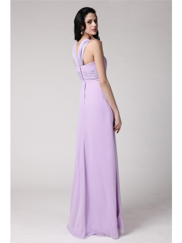 Gorgeous Sheath High Neck Sleeveless Long Chiffon Bridesmaid Dress