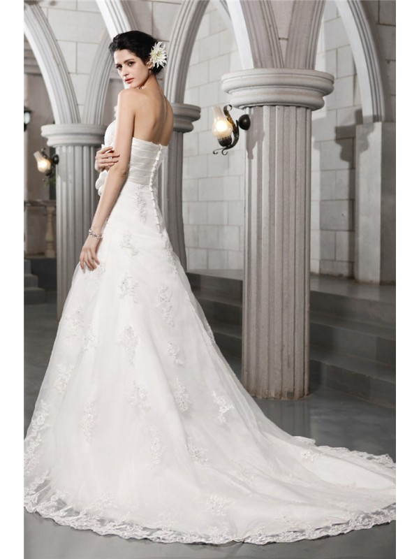 Beautiful A-Line Strapless Sleeveless Long Satin Wedding Dress