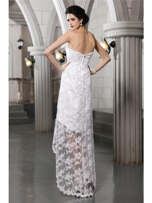 Beautiful Sheath Strapless Sleeveless High Low Lace Wedding Dress