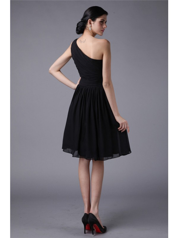 Gorgeous Sheath One-Shoulder Sleeveless Short Chiffon Bridesmaid Dress