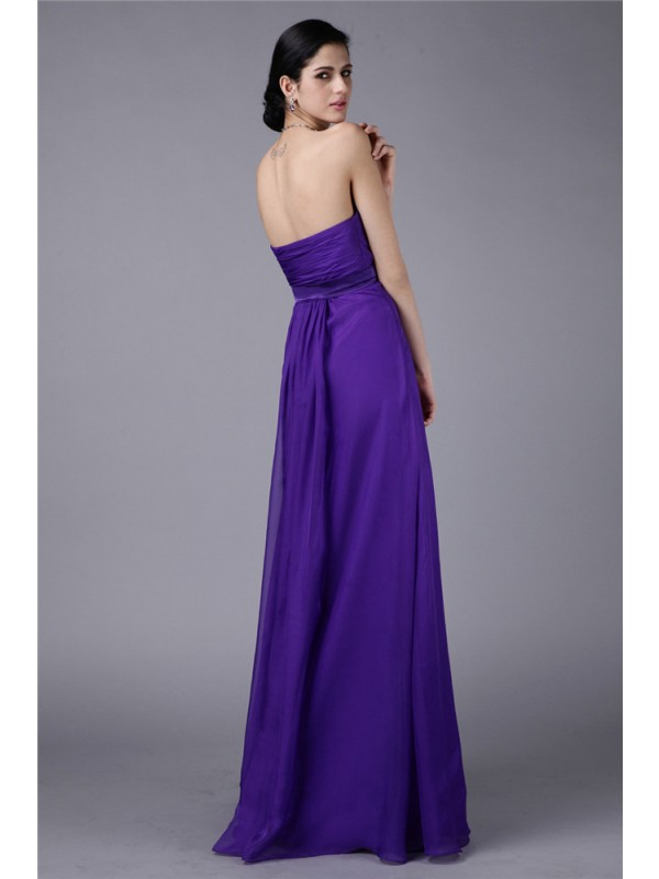 Gorgeous A-Line Sweetheart Sleeveless Long Chiffon Bridesmaid Dress