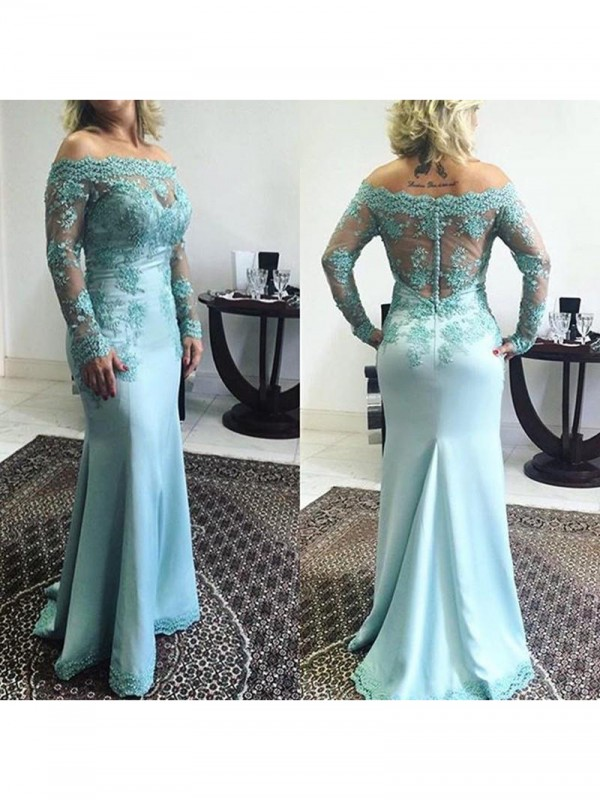 Fancy Mermaid Off-the-Shoulder Long Sleeves Sweep/Brush Train Elastic Woven Satin Mother Of The Bride Dress