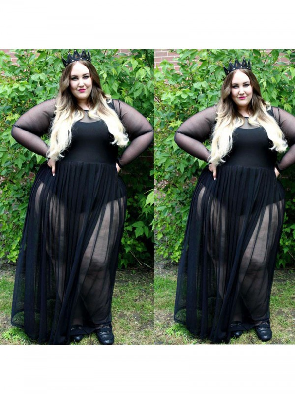 Exquisite A-Line Sheer Neck Long Sleeves Floor-Length Chiffon Plus Size Dress