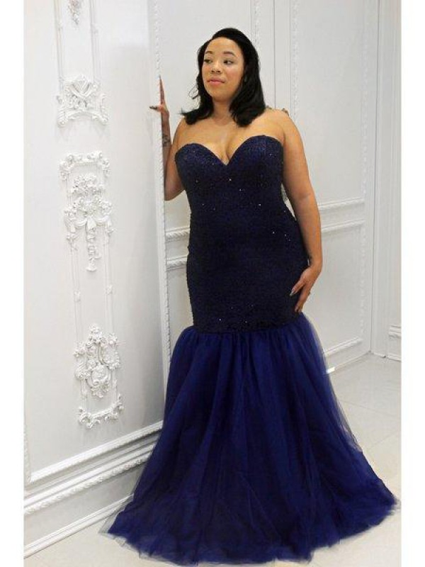 Classical Mermaid Sweetheart Sleeveless Sequin Floor-Length Tulle Plus Size Dress