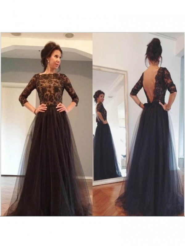 Classical A-Line Bateau 3/4 Sleeves Lace Sweep/Brush Train Tulle Mother Of The Bride Dress