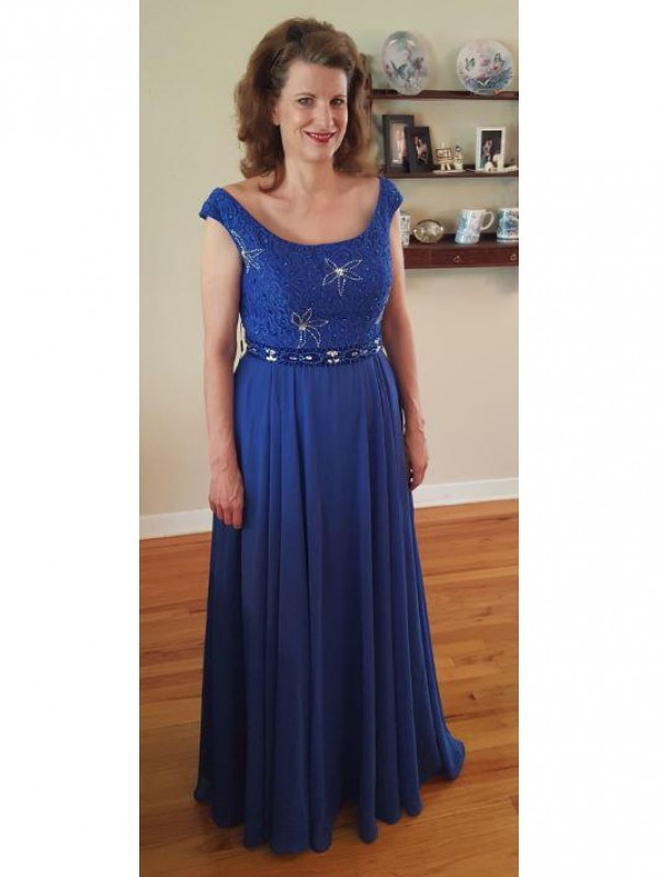 Fancy A-Line Scoop Sleeveless Floor-Length Chiffon Mother Of The Bride Dress