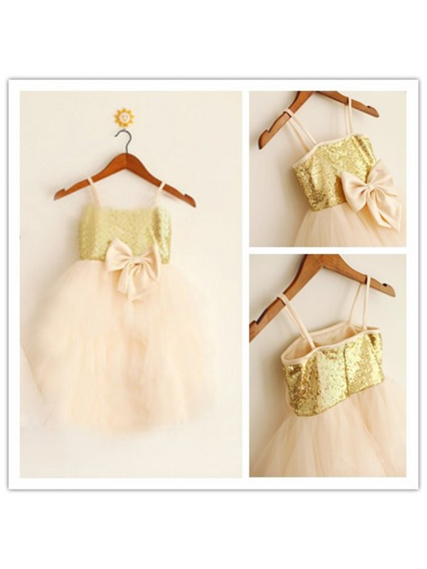 Amazing A-Line Spaghetti Straps Sleeveless Tea-length Tulle Flower Girl Dress