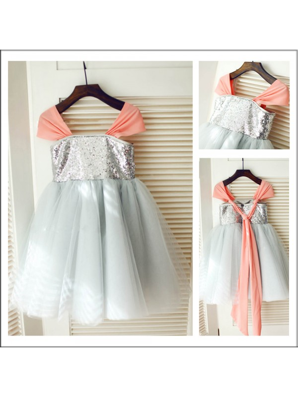 Stunning A-Line Straps Sleeveless Tea-length Tulle Flower Girl Dress