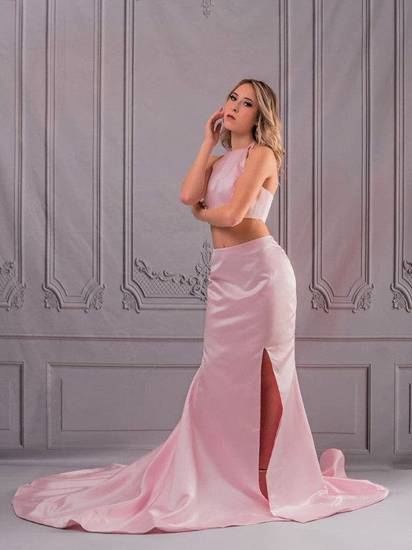 Gorgeous A-Line Halter Sleeveless Sweep/Brush Train Satin Two Piece Dress