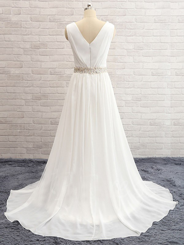 Discount A-Line V-neck Sweep/Brush Train Sleeveless Chiffon Wedding Dress