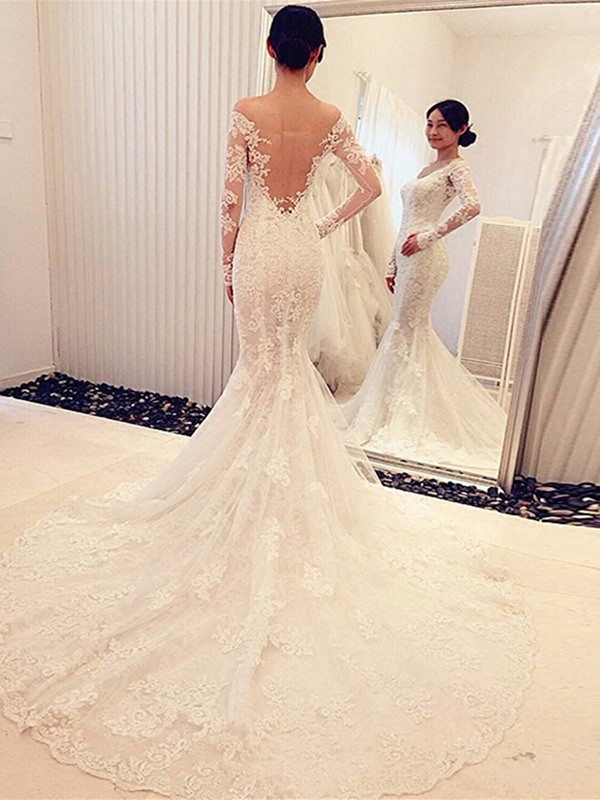 Affordable Mermaid Off-the-Shoulder Long Sleeves Lace Chapel Train Wedding Dress