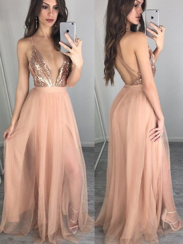 Perfect A-Line Sleeveless Spaghetti Straps Chiffon Floor-Length Sequin Dress
