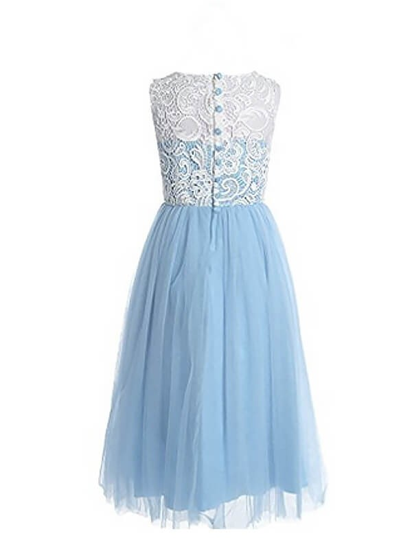 Chic A-Line Sleeveless Jewel Lace Ankle-length Tulle Flower Girl Dress