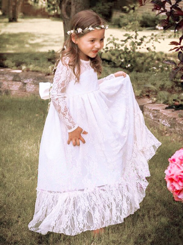 Chic A-Line Long Sleeves Jewel Lace Floor-Length Flower Girl Dress