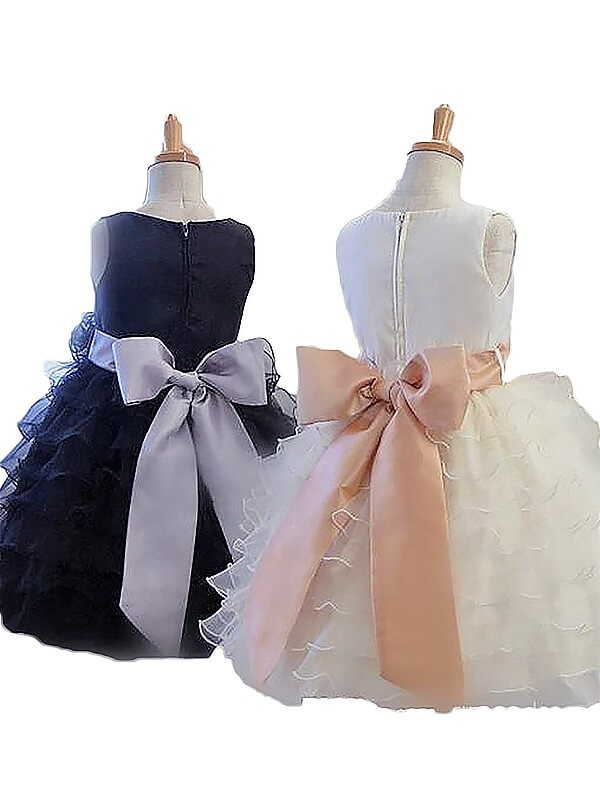 Chic A-Line Sleeveless Jewel Tulle Short/Mini Flower Girl Dress