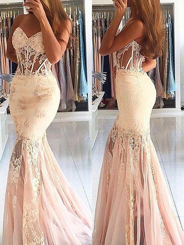 Stylish Mermaid Sleeveless Sweetheart Tulle Lace Sweep/Brush Train Dress