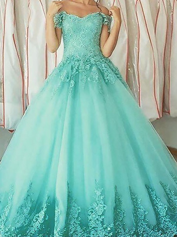 Fashion Ball Gown Sleeveless Off-the-Shoulder Floor-Length Tulle Dress