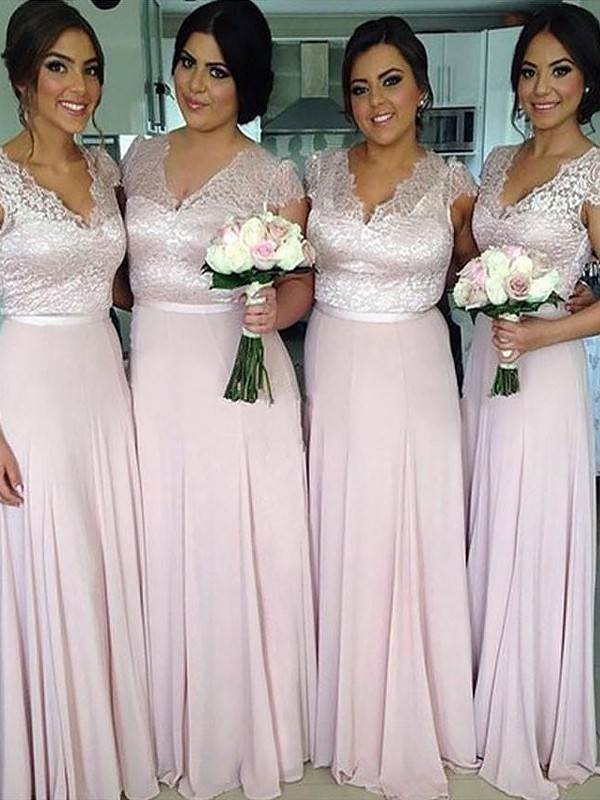 Exquisite A-Line V-neck Short Sleeves Floor-Length Chiffon Bridesmaid Dress