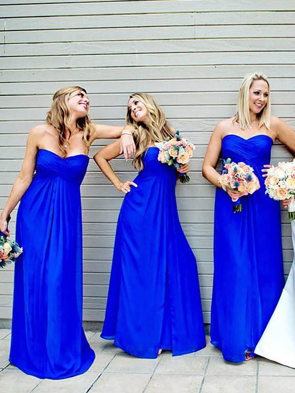 Exquisite A-Line Floor-Length Sweetheart Chiffon Sleeveless Bridesmaid Dress