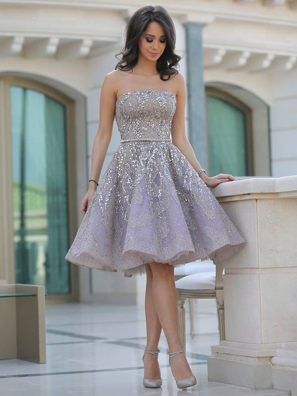 Discount A-Line Strapless Sleeveless Sequin Knee-Length Satin Dress