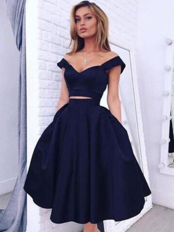 Discount A-Line Off-the-Shoulder Sleeveless Tea-Length Satin Two Piece Dress