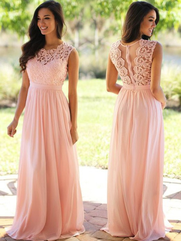 Stunning A-Line Scoop Sleeveless Floor-Length Chiffon Dress