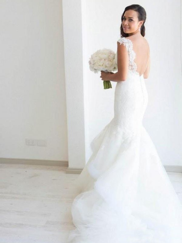 Fashion Mermaid Sleeveless Organza Straps Chapel Train Wedding Dress