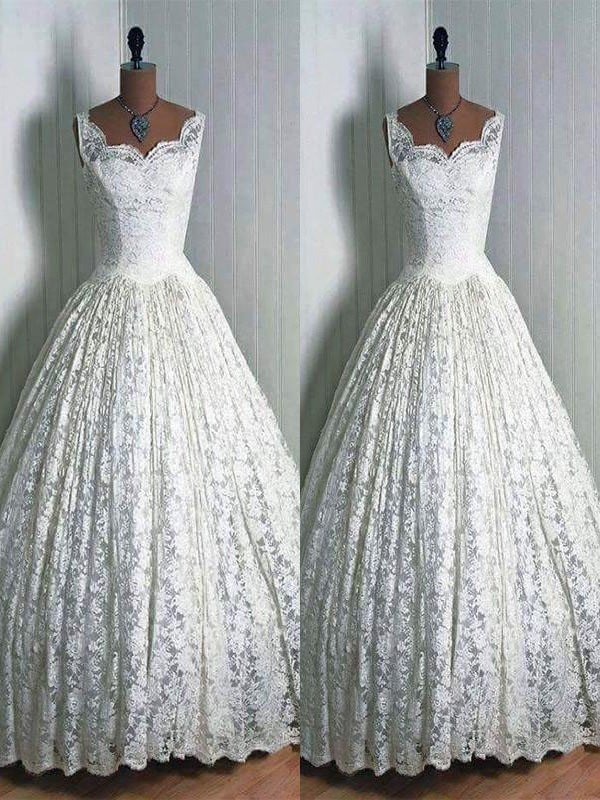 Fashion Ball Gown Lace Sweetheart Floor-Length Sleeveless Wedding Dress
