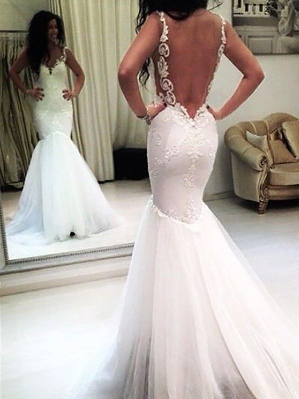 Fashion Mermaid Chapel Train Spaghetti Straps Sleeveless Tulle Wedding Dress