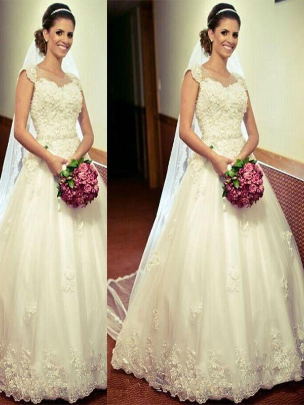 Fashion Ball Gown Tulle Floor-Length Sleeveless Sweetheart Wedding Dress