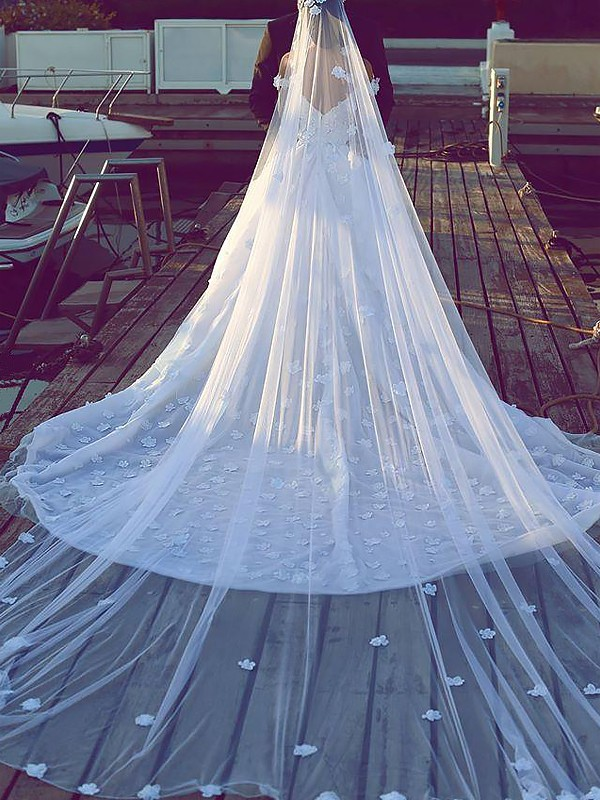Exquisite Ball Gown Tulle V-neck Sleeveless Chapel Train Wedding Dress