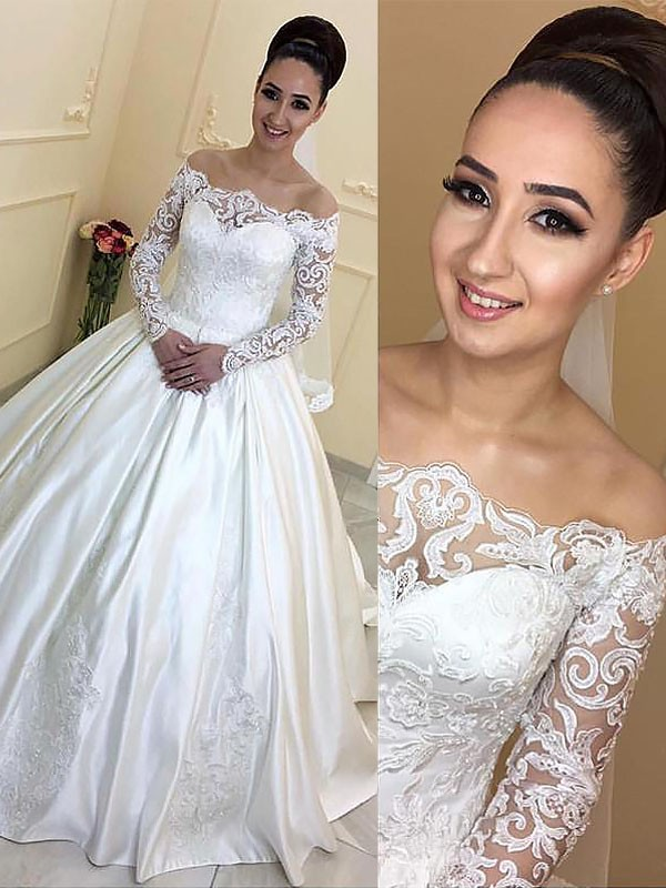Exquisite Ball Gown Long Sleeves Off-the-Shoulder Satin Court Train Wedding Dress