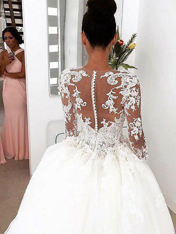 Exquisite Ball Gown Long Sleeves Scoop Court Train Lace Wedding Dress