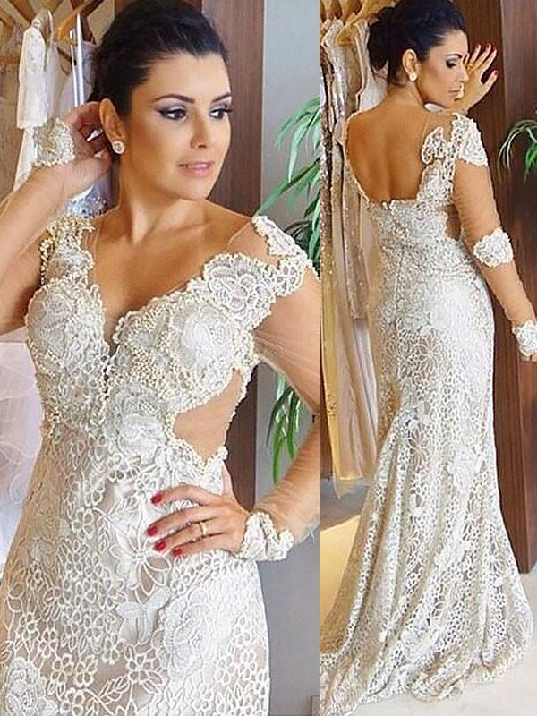 Exquisite Sheath V-neck Lace Long Sleeves Sweep/Brush Train Wedding Dress