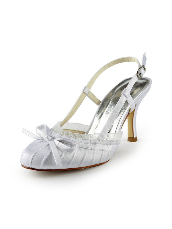 Exquisite Women Satin Stiletto Heel Sandals Closed Toe Buckle White Wedding Shoes