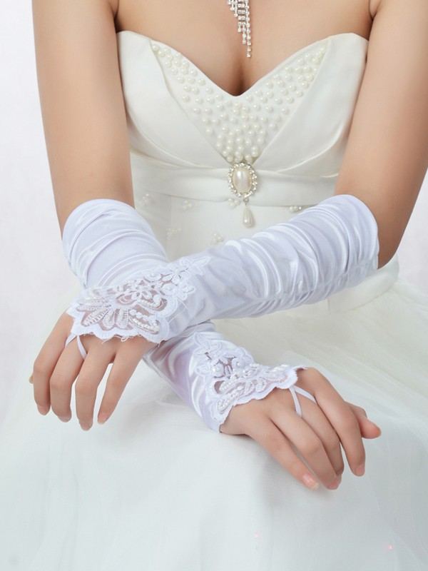 Beautiful Romantic Lace Satin Wedding Glove