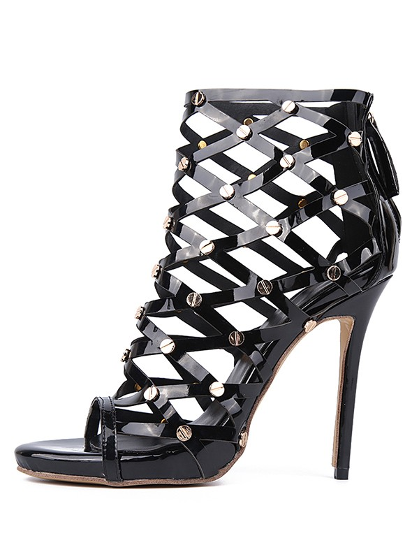 Beautiful Women Patent Leather Peep Toe Stiletto Heel Laser Rivet Platform Sandals Shoes