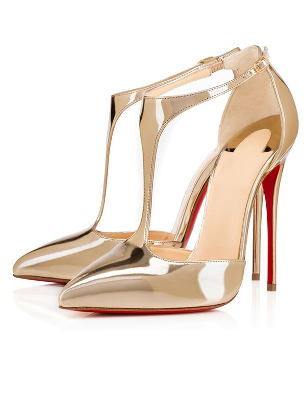 Beautiful Women Patent Leather Closed Toe Stiletto Heel Gold Sandals Shoes