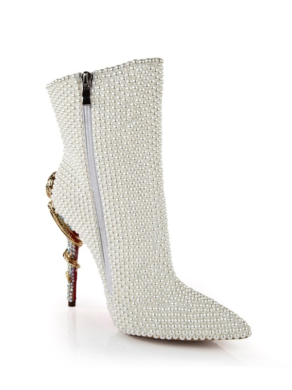 New Women Patent Leather Stiletto Heel Pearl Mid-Calf White Boots
