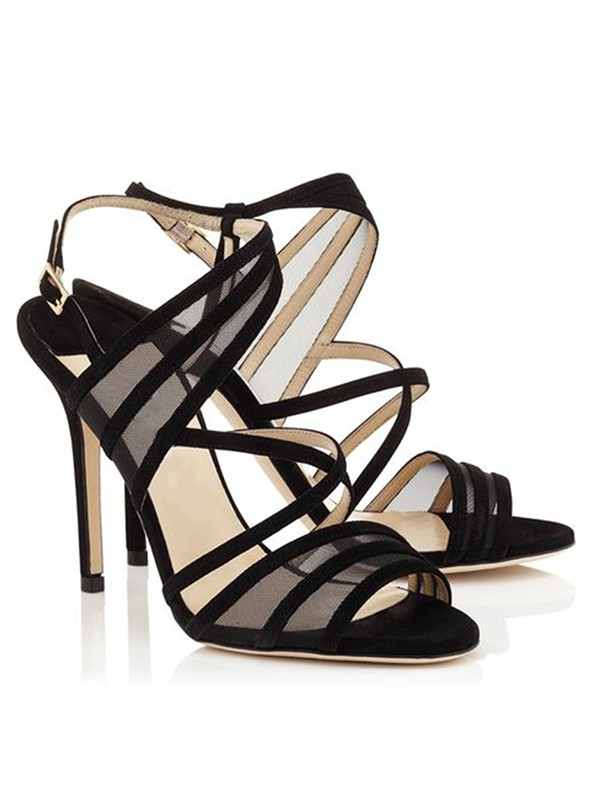 Hot Sale Women Stiletto Heel Suede Peep Toe Buckle Sandals Shoes