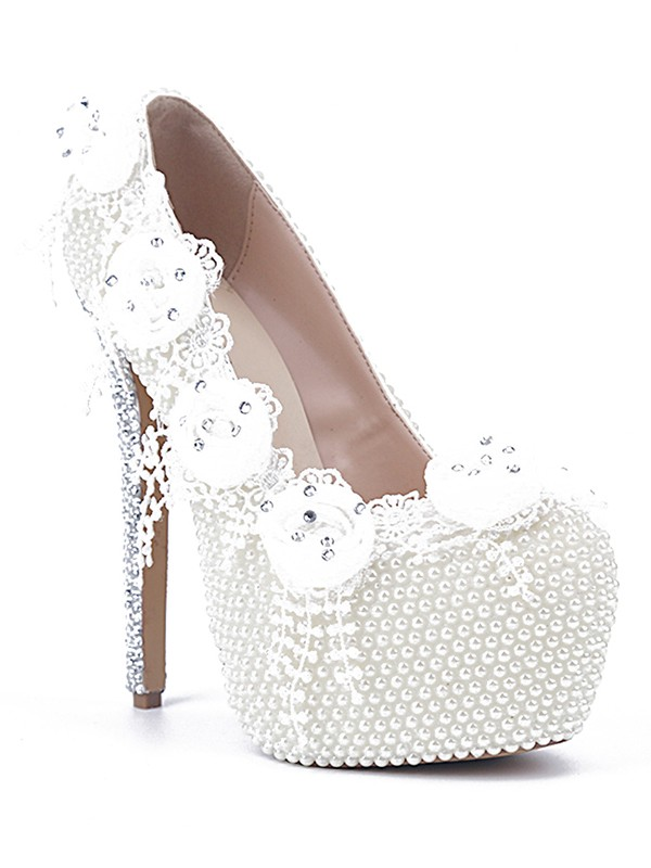 Exquisite Women Patent Leather Stiletto Heel Closed Toe Pearl White Wedding Shoes