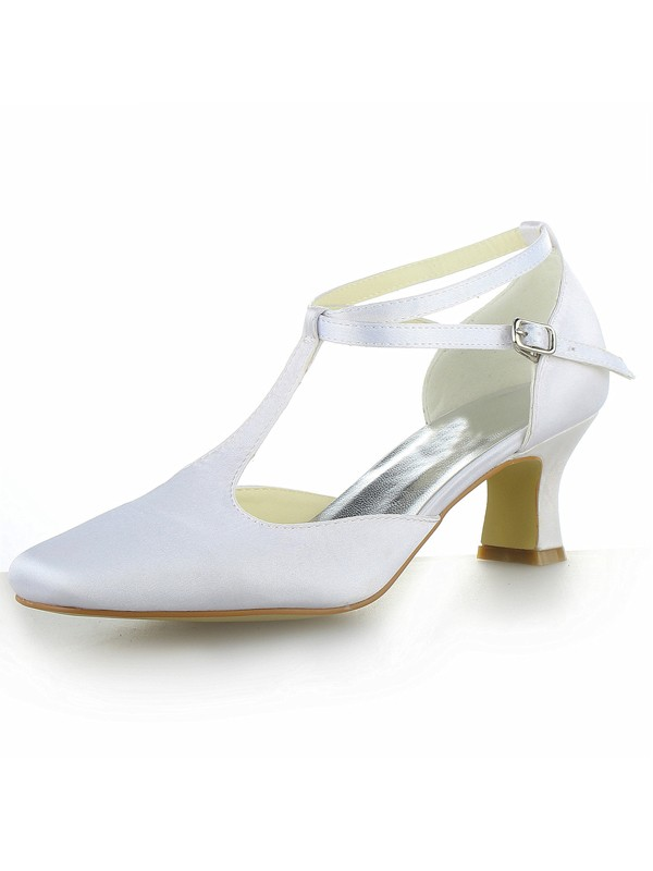 Stylish Women White Satin Closed Toe Chunky Heel Buckle High Heels